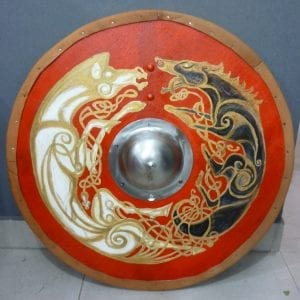 escudo vikingo lobo y caballo